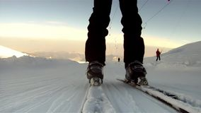 Skiers spectacular pov stock video