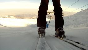 Skiers spectacular pov stock video footage