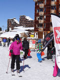 Skiers stop at an alpine restaurant Stock Photo
