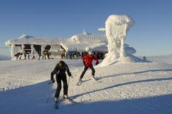 Skiers at summit plateu Åre Stock Image