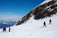 Skiers in Swiss Alps Royalty Free Stock Images