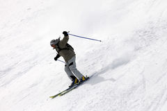 Skiers on top of the mountain Stock Photo