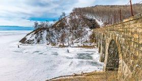 Skiers, tourists come to Lake Baikal Stock Images