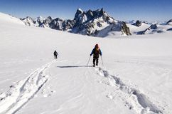 Skiers on Vallee Blanche Stock Image