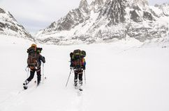 Skiers on Vallee Blanche Royalty Free Stock Image