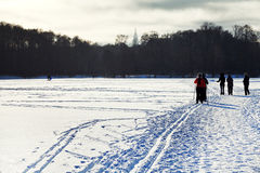 Skiers and walking people on snowy field Stock Photography