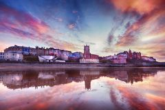 Skies ablaze in Cromer town royalty free stock photography