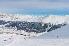 Skiesr on the slope of  Ski resort Livigno Stock Photo