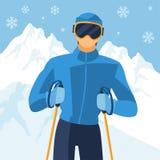 Skieur d'homme sur le fond de paysage d'hiver de montagne illustration libre de droits