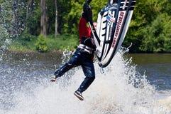 Skieur dans l'action Photos stock