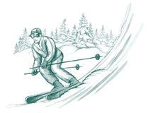 Skieur dans l'action Photographie stock libre de droits