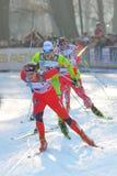 Skieur Eide de Norvegian dans le chemin de Milan dans la ville Images stock