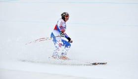 Skieur Marion Rolland sur la piste Images stock