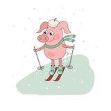 Skieur mignon de porc Beau personnage de dessin animé Photos libres de droits