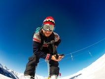 Skieur prêt à aller Photographie stock libre de droits