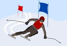 Skieur prenant un tour dans une course Image stock