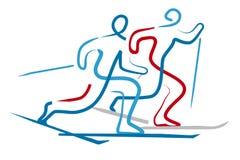 Skieurs de pays croisé illustration stock