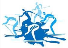 Skieurs de pays croisé Images libres de droits