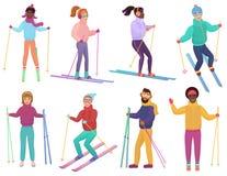skieurs réglés Hommes et ski de femmes Illustration plate à la mode de vecteur de gradient Photos libres de droits
