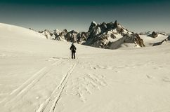 Skieurs sur Vallee Blanche Photo stock