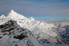 Skifahren Cervinia und Zermatt, große Ansicht Lizenzfreies Stockbild