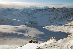 Skifahren Cervinia und Zermatt, hohe Ansicht Stockfotos