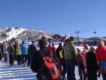 Skifahren cowbys schlugen den Sprung Lizenzfreies Stockbild