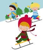Skifahren-Kinder vektor abbildung