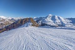 Skifahren Piste von Skiort Gavarnie Gedre lizenzfreies stockfoto