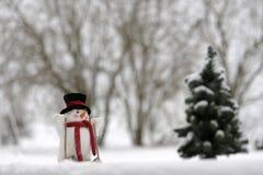Skifahren-Schneemann in der Winterlandschaft Lizenzfreie Stockbilder
