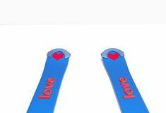 Skifahren- und Aufschriftliebe Stockbild