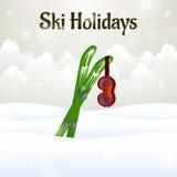 Skifahren und Ski Goggles auf Schneehintergrund Stockfotografie
