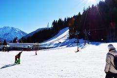 Skifahrenbahn in Auronzo di Cadore, schöne Landschaft, Dolomiti-Berge, Italien stockfotos