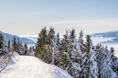 Skifahrenerholungsort bei Postavarul, Brasov, Siebenbürgen, Rumänien stockfoto