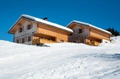 Skifahrenhütten in Montafon Stockfoto