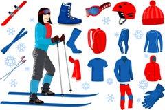 Skifahrenikonen stellten von der kompletten Ski- und Snowboardausstattung und von der Skiortausrüstung ein Lizenzfreie Stockfotos
