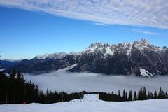 Skifahrensteigung Stockbild
