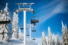 Skifahrer auf dem Attridge-Stuhl am silbernen Stern-Berg Stockfotografie