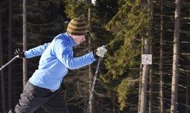 Skifahrer auf einem Weg im Park Lizenzfreie Stockbilder