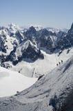 Skifahrer auf Mont Blanc Stockbilder