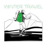 Skifahrer in den Bergen mit Zelt Lizenzfreie Stockbilder