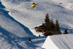 Skifahrer, der einen Freistilsprung durchführt Stockbild