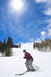Skifahrer, der seine Ski-Ferien genießt Lizenzfreies Stockbild