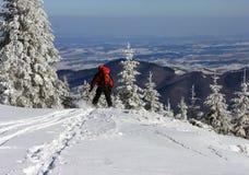 Skifahrer, der unten vom Berg erhält Stockfotografie