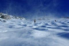 Skifahrer in einem Sturm des geblasenen Schnees Stockfoto