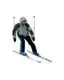 Skifahrer getrennt auf Weiß stockfoto