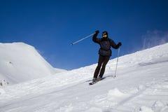 Skifahrer in Gudauri Ski Resort Stockfotografie