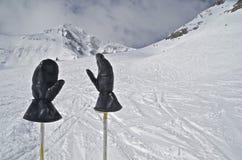 Skifahrer-Handschuhe an der Gebirgsspitze lizenzfreies stockbild