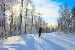 Skifahrer steigt von einem kleinen Hügel ab Stockfoto