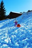 Skifahrer und Bob in den Schweizer Alpen stockbild
